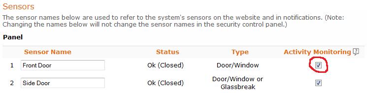 Enable Alarm.com activity monitoring for that sensor