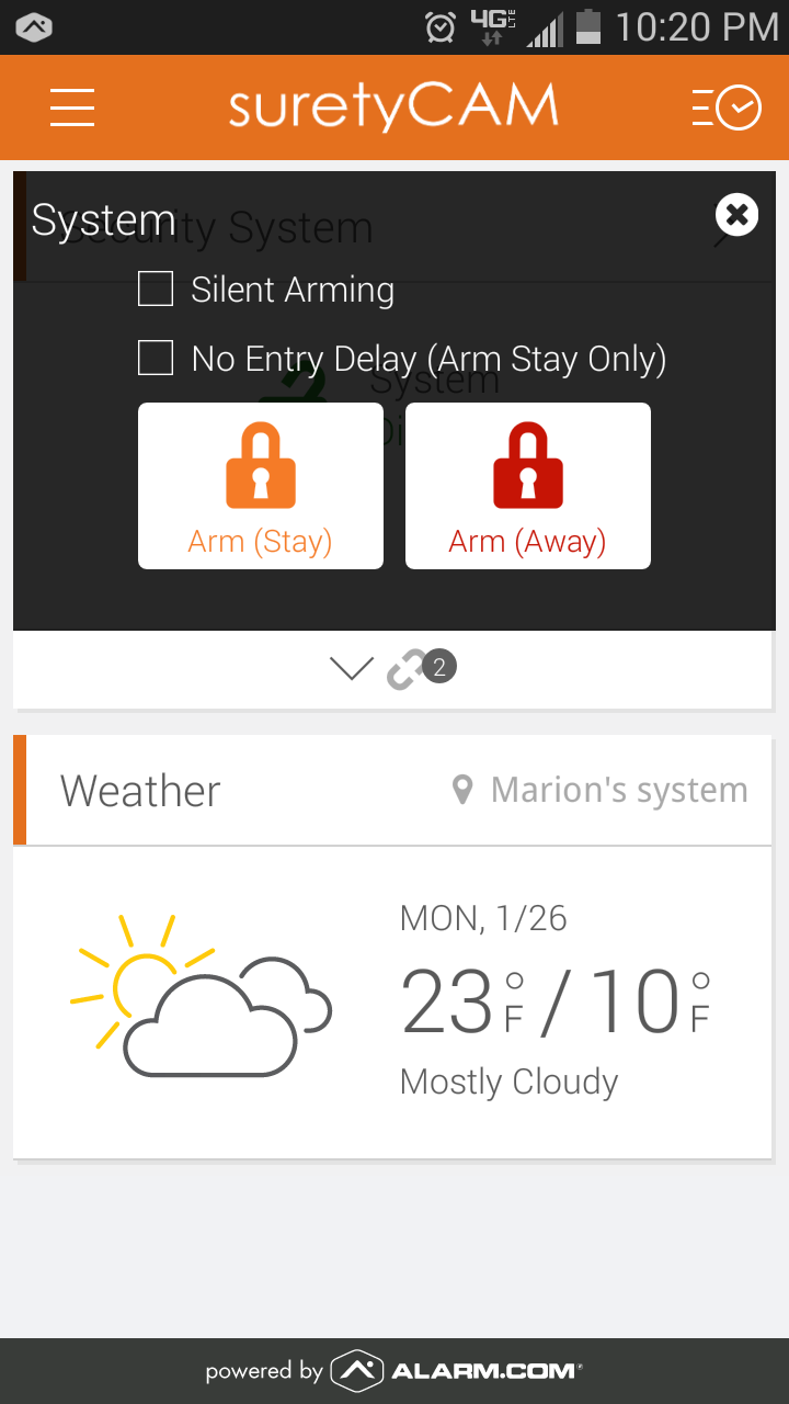 Alarm.com Android App Silent Arming